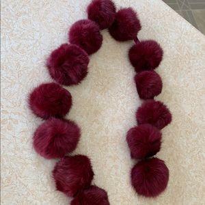 NWOT genuine fur Pom Pom scarf